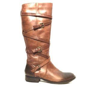 Arturo Chiang Brown Cap Toe Gladiator Strap Boots